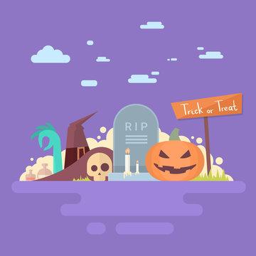 Happy Halloween Banner Invitation Card Tomb Stone