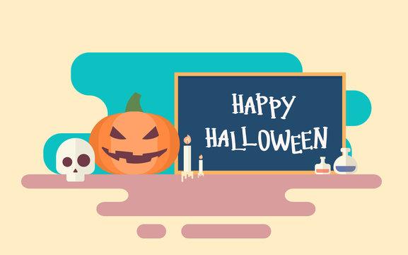 Happy Halloween Banner Invitation Card Skull Pumpkin