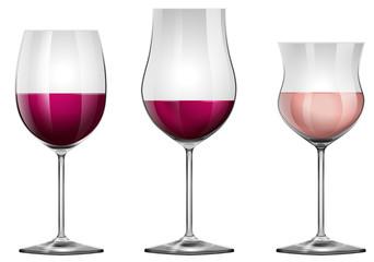 Three wine glasses with wine