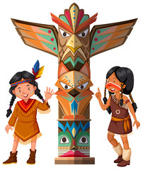 Two Red indians and totem pole