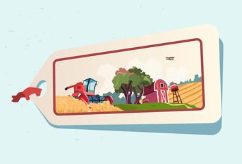 Farm Wheat Field Farmland Countryside Label
