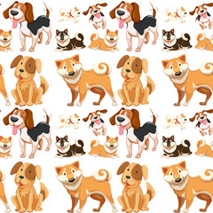 Seamless background with many dogs