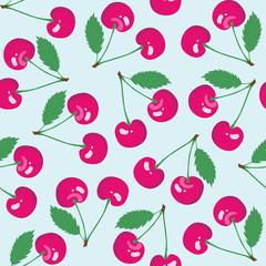 Seamless pattern with cherry. Vector illustration
