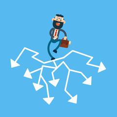 Business Man Think Strategy Choose Arrow