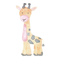 Giraffe cute little animal illustration hand-drawn watercolor