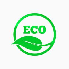 Eco logo. Round organic symbol. Vector design