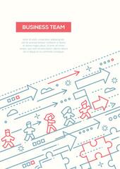 Business Team - line design brochure poster template A4