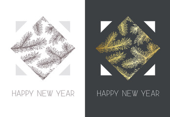 Geometrical vector New year postcard