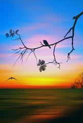 Colorful illustration of picturesque sunset landscape. 3D illustration.
