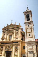Facades of a church in Nice on the French Riviera