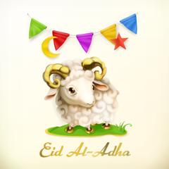 Muslim holiday Eid Al-Adha. Islamic culture. Greeting card with sheep. Vector background