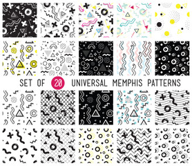 Geometric memphis seamless patterns set