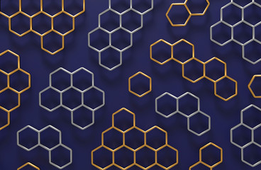 3D abstract honeycomb background