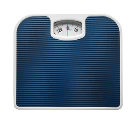 Bathroom scale on white background. Weight loss concept