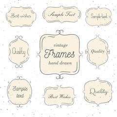 Set of vintage hand drawn pink frame. Vector illustration. Good for wedding invitations, gift cards, menu and logo.