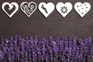 Wall Mural - Lavender and hearts.