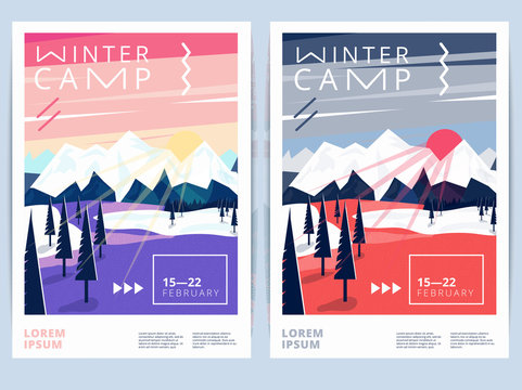 Set of winter hiking camp poster or flyer. Vector snow background