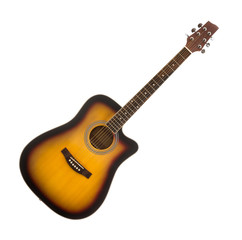 Wooden Classical Acoustic Guitar. Sunburst Finish. Isolated on a White Background