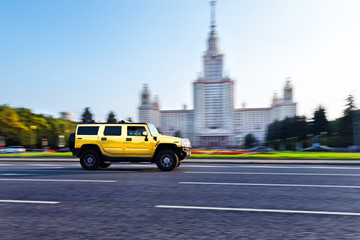 Golden 4X4 vehicle in Moscow