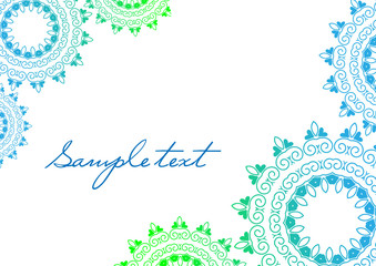 Background mandala vector in green and blue colors.