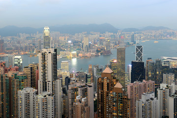 Hong Kong Skyline and Victoria Harbour at dusk from Victoria Peak on Hong Kong Island.