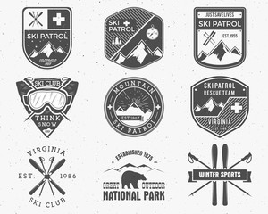 Outdoors camp stamp vector design. Tourism hipster patch and badges. Expedition emblem. Winter or summer Ski patrol graphic. Snowboarding, ski labels set. First aid mountain patrol logo for web, print