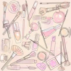 beautiful mess of cosmetics and makeup brushes creative process