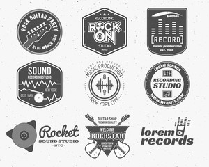 Set of vector music production logo,label, sticker, emblem, print or logotype with elements - guitar, sound recording studio, t shirt, sound production Podcast and radio badges, typography design