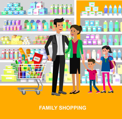 Shop, supermarket Vector flat illustrations