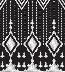 Chalkboard doodle Tribal Aztec Seamless Pattern. Fabric, Geometr