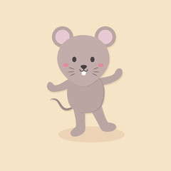 Vector illustration of cute mouse cartoon character standing in cream background.