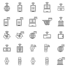 Fintech line icons on white background