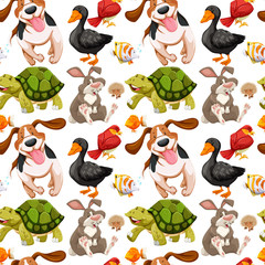 Seamless background with many animals