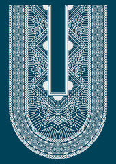 Ethnic neck line embroidery, graphic designs for fashion and oth
