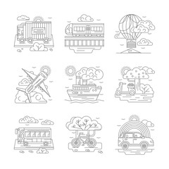 Set of transportation detailed line vector icons