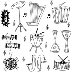 Doodle of hand draw tool music