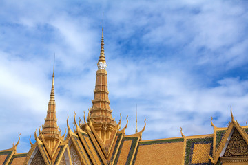 Golden spiers of Royal Palace in Phnom Penh, Kingdom of Cambodia.
