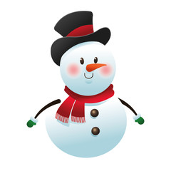 flat design single snowman icon vector illustration