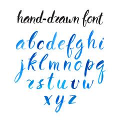 blue watercolor font