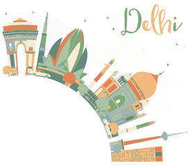 Abstract Delhi Skyline with Color Landmarks and Copy Space.