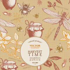 Farm seamless pattern harvest time dragonfly rose honey jar