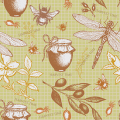 Harvest time seamless pattern vector illustration