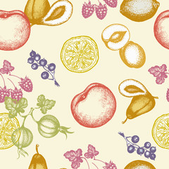 Fruits seamless pattern ink hand drawn vector illustration