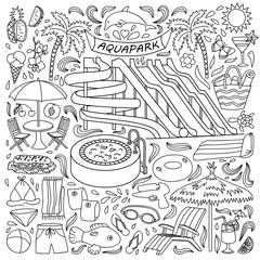 Aquapark doodle set