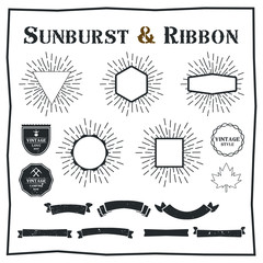 Set of sunburst design elements. Vintage style elements and icons for graphic and website design.