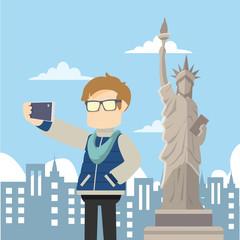 selfie infront of liberty