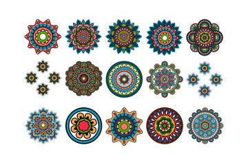 Round tribal elements decorative isolated colorful set. Vector illustration