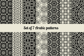 Black and white arabic style patterns. Vector illustration