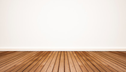 Obraz Wood floor with white wall - fototapety do salonu