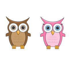 Couple little cute cartoon owls man and woman characters isolate